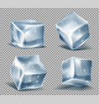 set of blue ice cubes frozen icy blocks vector image