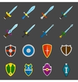 Shield swords emblems icons set vector image