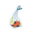 shopping cloth string bag zero waste reusable vector image