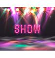 show light show floor banner show text signboard vector image vector image