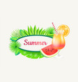 summer banner with frame for text green palm tree vector image vector image