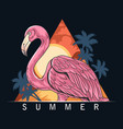 summer flamingos on beach with coconut trees vector image vector image
