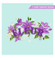 summer floral poster tropical clematis flowers vector image vector image