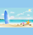 surfboard on a beautiful bright sea sand beach vector image