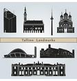 Tallinn landmarks and monuments vector image vector image