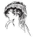 tassel hat vintage engraving vector image vector image