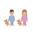 two cute little kids in pajamas holding teddy vector image