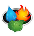 water fire and green leaf vector image vector image