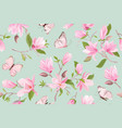 watercolor magnolia floral seamless pattern vector image vector image