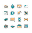 web development icons collection line and fill vector image vector image