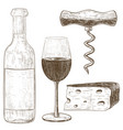 wine set hand drawn sketch vintage style vector image