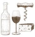 wine set hand drawn sketch vintage style vector image vector image