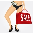 woman legs on high heels holding shopping bag vector image vector image