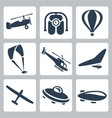 aircrafts icons set autogyro jet pack air baloon vector image vector image