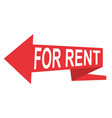 arrow pointer for rent red sign icon banner vector image
