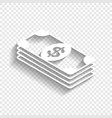 bank note dollar sign white icon with vector image vector image