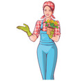 beautiful young woman gardener holding pot of vector image vector image