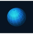 Blue Globe Network Icon on Dark Background vector image