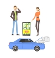 Broken Car Couple Calling For Help And Smartphone vector image vector image