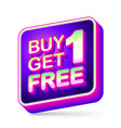 buy 1 get 1 free sale tag app icon with neon vector image