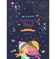 Card with kissing couple and firework vector image vector image