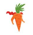 cartoon superhero carrot character standing with vector image