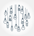 Circle of light bulb hanging on cords vector image vector image