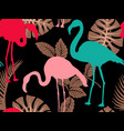 colorful pattern with flamingo silhouettes and vector image vector image