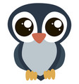 cute owl with big eyes on white background vector image vector image