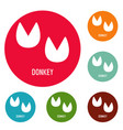 donkey step icons circle set vector image