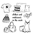 doodle clothing and bedding and bags vector image vector image