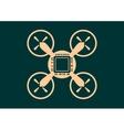 Drone quadrocopter icon Computer chip symbol vector image
