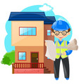 engineer working on building house vector image vector image