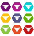 female cotton panties icon set color hexahedron vector image vector image