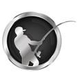 fishing symbol silver vector image vector image