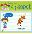 Flashcard letter R is for reindeer vector image vector image