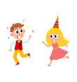 flat boy girl dancing and running vector image
