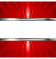 Glow red beams and metallic banner vector image vector image