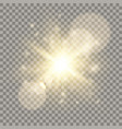 golden lens flare light effect vector image vector image