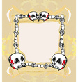 Grunge Frame with skull in vintage style vector image