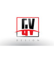 gv g v logo letters with red and black colors and vector image vector image