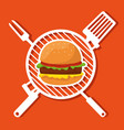 hamburger food in the grill with slice and fork vector image vector image
