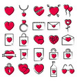 hearts icons hand drawn style vector image vector image