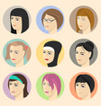 isometric women faces vector image vector image