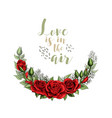 love in air postcard half wreath with red rose vector image
