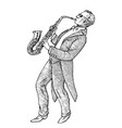 man plays the trumpet musician with a classic vector image