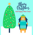 merry christmas and happy new year festive card vector image vector image