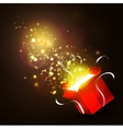 Open gift box with bright rays of light vector image vector image