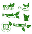 organic eco logos with green leaves bio vector image