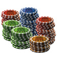 Poker chip many isolated white background vector image vector image